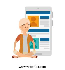 old woman in lotus position with smartphone device
