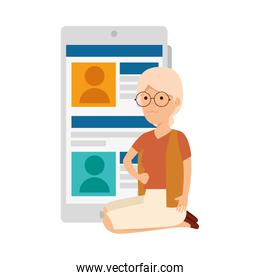 old woman in lotus position with smartphone