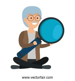 old man in lotus position with magnifying glass