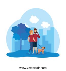 young couple with smartphone and dog