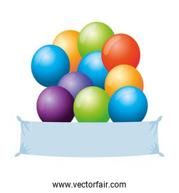 balloons helium floating with banner