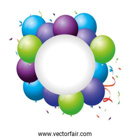 circular frame with balloons helium floating