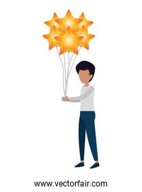 man with balloons helium floating and stars shape