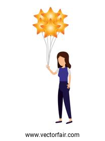 woman and balloons helium floating with stars shape
