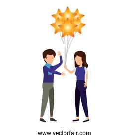couple and balloons helium floating with stars shape