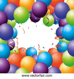 balloons helium floating with confetti frame