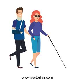 man with orthopedic collar and blind woman