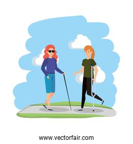 blind woman with walking stick and helper