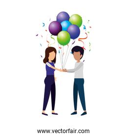 couple with balloons helium floating