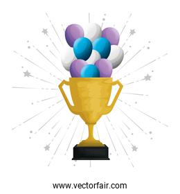 trophy cup with balloons helium floating