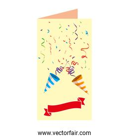 postcard with party cornets and confetti