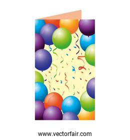 postcard with balloons helium floating