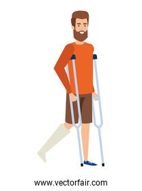 man in crutches character