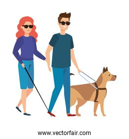 blind woman with helper and guide dog