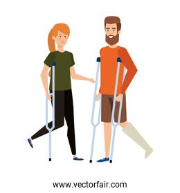 couple in crutches characters