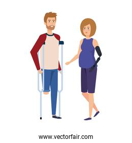man in crutches with woman with prosthesis