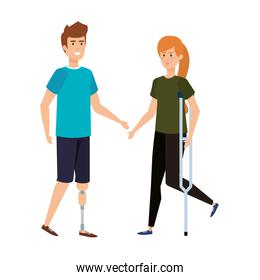 woman in crutch and man with prosthesis