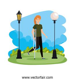 woman in crutch character