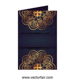 postcard with golden mandala victorian style