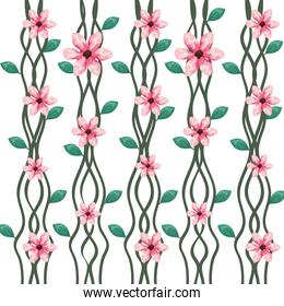 branch with leafs and flowers pattern