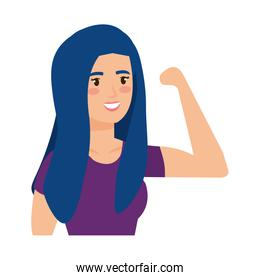 strong woman arm signal