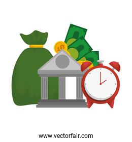 bank building with money sack and alarm clock