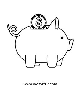 piggy money savings with coin money