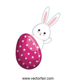 cute rabbit with easter egg painted