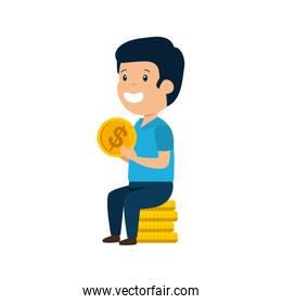 happy young man with coins
