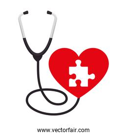 heart with puzzle attached and stethoscope