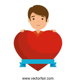 young man with heart avatar character