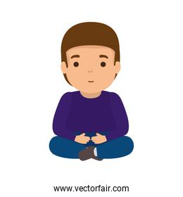 young man seated avatar character
