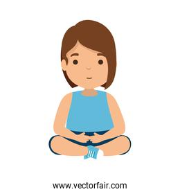 cute little girl seated character