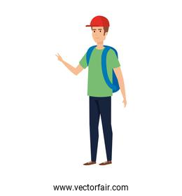 young man with travelbag avatar character