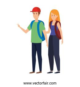 young couple with schoolbags avatars characters