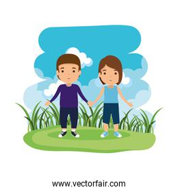 young couple in the camp avatars characters
