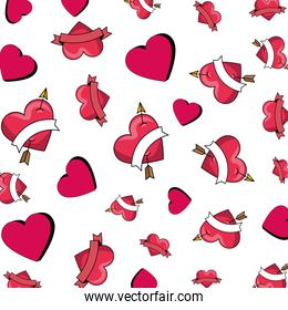 hearts love with arrows pattern