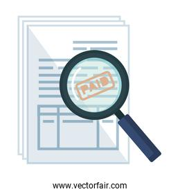 tax documents with magnifying glass