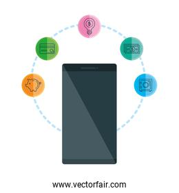 smartphone with business icons