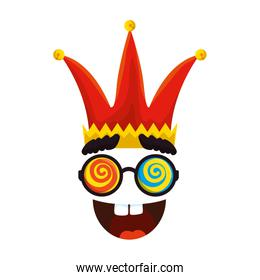 jester hat with glasses and smile fools day icon