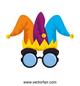 jester hat and glasses fools day icon