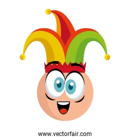 crazy emoticon face with jester hat fools day