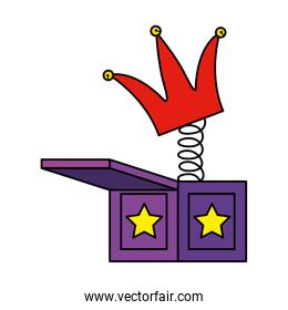 jester hat in surprise box fools day icon