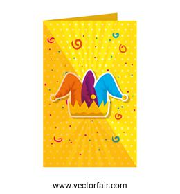 jester hat in fools day card