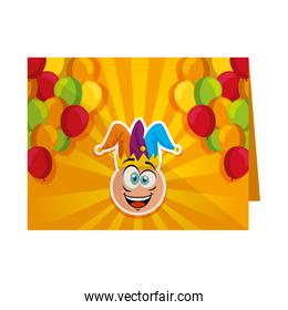 fools card with crazy emoticon and jester hat