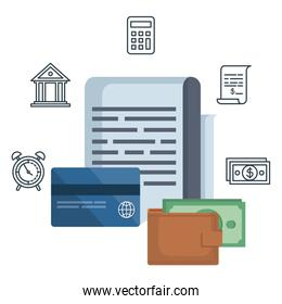 tax document with financial icons