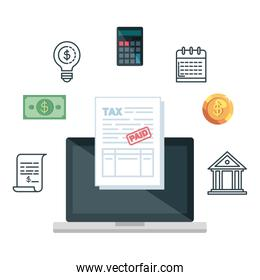 laptop computer and tax financial icons