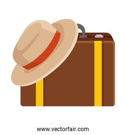 suitcase travel with tourist hat