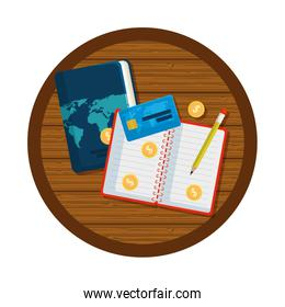 travel tourism icons in wooden table