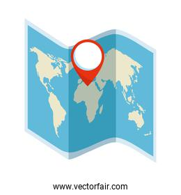 paper map travel with pin location